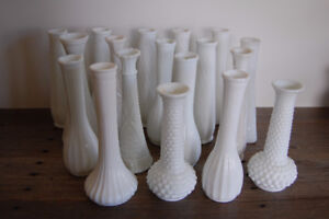 VINTAGE MILK GLASS VASES, ALL SHAPES, SIZES AND DESIGNS