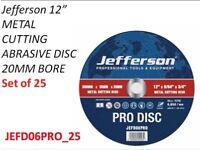 "JEFFERSON 25 X 12"" METAL CUTTING ABRASIVE DISC 20MM BORE JEFD06PRO"