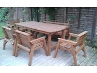 solid wooden table, four chairs and bench