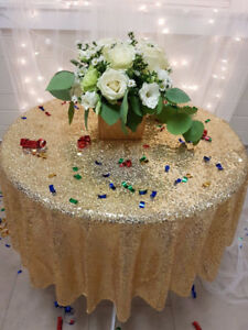 """Glitter Gold Sparkly Sequin Round Table Cloth (50"""")"""