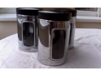 3 stainless steel 'brabantia' kitchen storage canisters