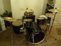 Tama 5 Piece drum kit with hard cases and cymbals