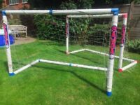 Football goals x 2 + one spare with damaged corner for protecting garden!