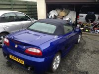 Blue MGTF for sale. Nice car but not running. Been on SORN for a few years.