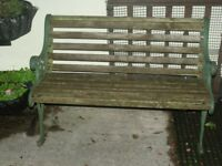 Garden Bench with cast iron ends 65 ovno south brent nr plymouth devon x0x0