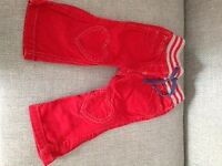 Boden red cord girls trousers 18 months