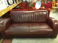 Red Leather 3 Seater Couch