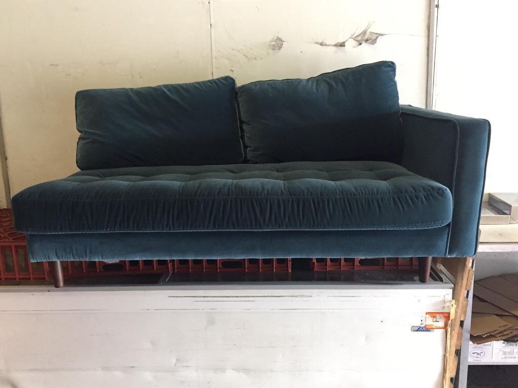 Scott Partial Sofa In Petrol Cotton Velvet Bargain Rrp 1499 In