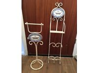 Bathroom accessories: Antique look toilet roll holder and wall hanging shelving.