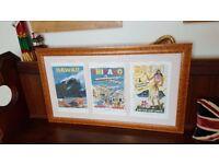 huge framed airline advertising picture, burr maple frame
