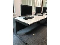 Modern White & Grey Bench Desks - 80 available