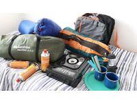 camping gear set up