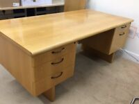 Executive Solid Oak Desk and Suspension File Unit
