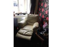 Cream leather recliner