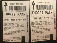 2 Thorpe park tickets