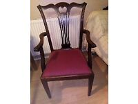 Beautiful Head of the table/Carver chair - in a retro gothic design, dark rosewood/mahogany
