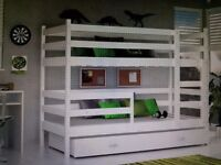 pink wood children's bunk beds including foam mattress