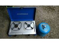 Camping gaz twin burner stove and 907 bottle