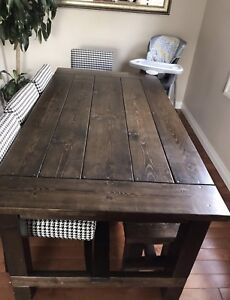 Country style dining table with bench and chairs