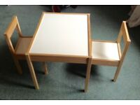 Kids table and 2 chairs - IKEA LATT - from grandparents house so little used