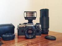 Vintage Olympus OM10 film camera + lenses and accessories