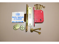 "ERA deadlocks 2 1/2"" 64mm 5 lever Brass"