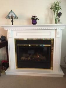 beatifully crafted electric fireplace with mantel