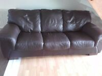 3 Seat Chocolate Real Leather Sofa