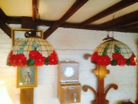 Beautiful pair of large Tiffany style ceiling lights