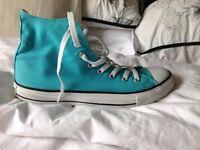 Aqua blue converse size 8