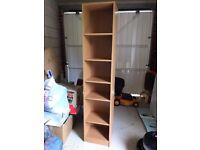 Narrow wooden bookcase bookshelf with 5 shelves