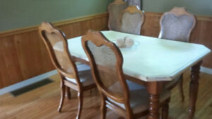 Vintage, custom made in Canada, solid wood dining room set