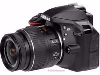 Nikon D3300 DSLR DIGITAL CAMERA 24.2MP 18-55mm lens fully working