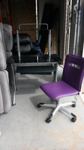 Metal and Glass Desk with Leather Purple Chair