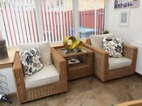 Wicker Sunroom/Conservatory Furniture - 3 Piece including 2 Arm Chairs and Central Table