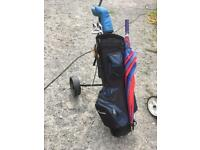 Howden golf trolley, bag and clubs plus accessories