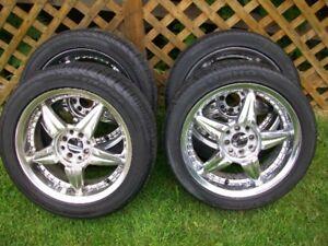 215 50 R17 all season tires on universal 4 bolt chrome rims