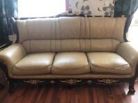 Sofa set (real leather) golden cream