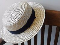 Straw boater summer hat