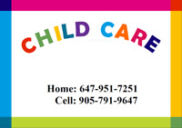 CHILD CARE IN BRAMPTON - SPOTS AVAILABLE