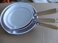 3 FAT FREE FRYING PANS (Brand New)