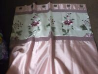PAIR OF DUNELM MILL LINED CURTAINS 46 X 54 RING TOP