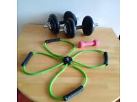 Home Gym Set - dumbbell, weights & stretching elastic