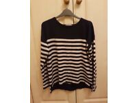 Blue stripped M&S size 14 cashmere jumper