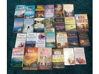 Collection of Nora Roberts books, thriller, romance