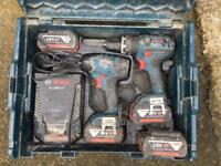 BOSCH 18v drill/IMPACT DRIVER WITH 4 BATTERIES