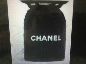 Chanel canvas drawstring bag