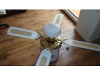 Fantasia Electric Ceiling Fan With Light, Brass/White Wood Very Good Quality 4ft 4ins across