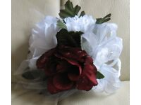 Pretty ' CORSAGE ' brand new & boxed - burgundy & white flowers, with dew drops, leaves, ribbon, net