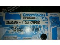 2 x Creamfields 4 day standard camping